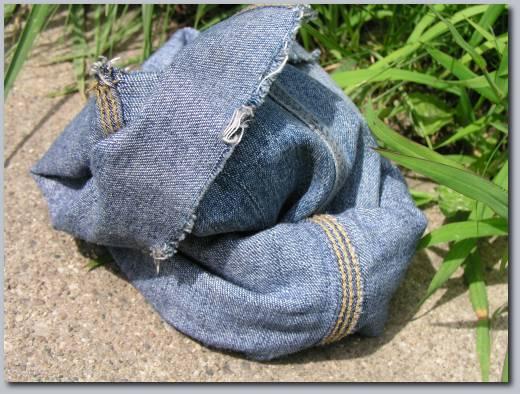 Cut up jeans.