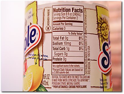 Diet snapple nutrient content.