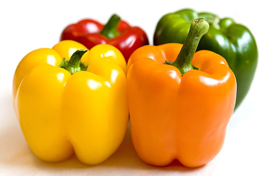 Multi-coloured peppers