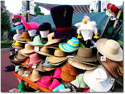 Hats on street