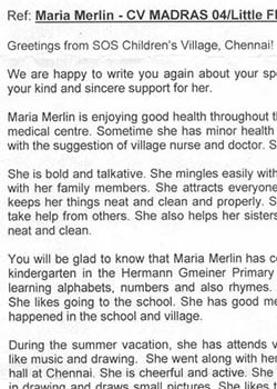 Letter with Maria's progress