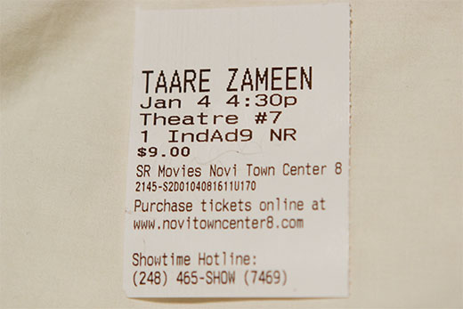 Hindi movie ticket